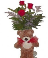 Oxford Flower's I Love You Beary Much Bouquet 3 Red Roses in a Vase  and a Mediium sized Bear. All for 38.00!