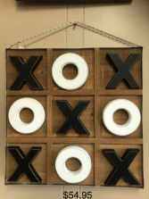 x and o game and wall hanging