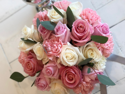 Ladies Day X-Large Flower Box Arrangement Pink and White Roses with Assorted Flowers