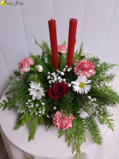 X-Mas Candlelight Delight $65 Traditional Christmas Centerpiece