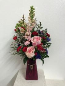 XOXO hot pink  Vase arrangement
