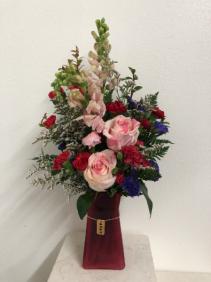 XOXO red Vase arrangement