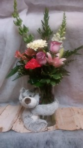 XOXOX Bear plush bear with cylinder vase
