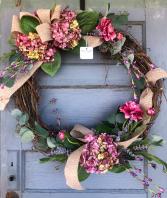 Xtra Lg Silk Hydrangea grapevine wreath