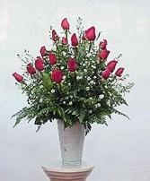24 Roses in a Vase Arrangement