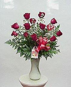Dozen Red Roses in a Vase