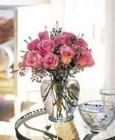 Pretty Pink Dozen Rose Arrangement
