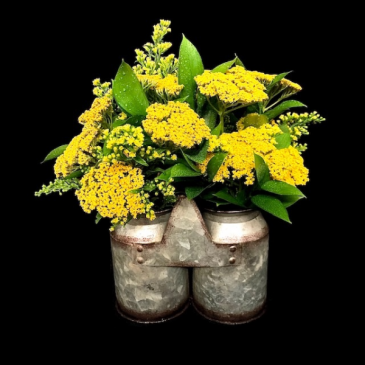 Yarrow Seasonal Flowers in Galvanized Containers