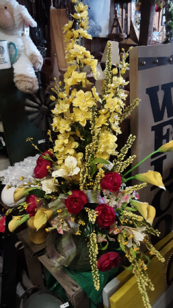 Yellow flair! silk vase arrangement