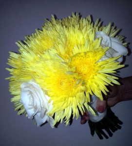 Yellow Anastasia Mums and white rose bouquet