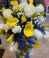yellow and blue Bridal bouquet