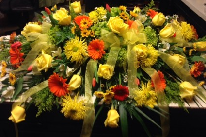 Yellow And Orange Mixed Casket In Hopewell Junction Ny Bouquets