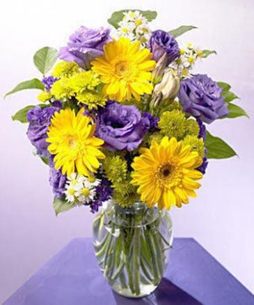 yellow and purple  vase arrangement