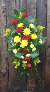 Yellow and Red Tribute Standing Spray of Funeral Flowers