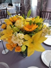 Yellow and some white Low centerpiece