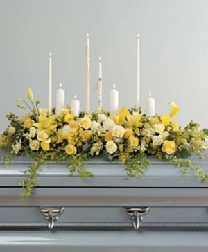 Yellow and White Casket Funeral in Abbotsford, BC | FUNERAL FLOWERS ABBOTSFORD
