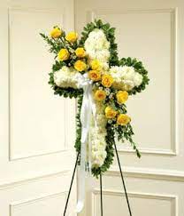 YELLOW AND WHITE CROSS FUNERAL CROSS WAS $199.00/NOW 165.00