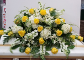 Yellow and White Rememberance Casket Spray