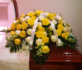 Yellow and White Rose Casket spray Sympathy