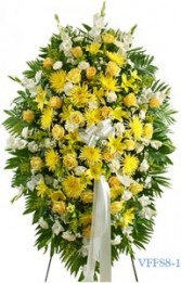 Yellow and White Standing Spray Funeral Spray