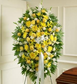 Sympathies Standing Spray- Yellow and White Sympathy/Funeral in Elyria, OH | PUFFER'S FLORAL SHOPPE, INC.