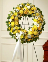 Yellow and White Standing Wreath Standing spray