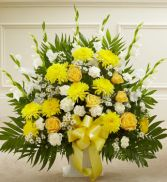 Yellow and White Sympathy Floor Basket Funeral Flowers