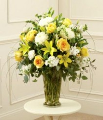 Yellow and White Sympathy Vase