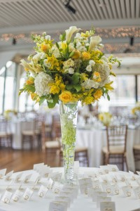 Yellow and white Tall centerpiece
