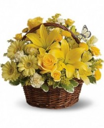 Yellow Basket Basket Arrangement