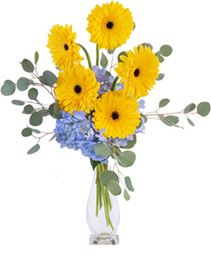 Yellow Blues Floral Arrangement in Oxford, MA | The Gypsy Rose Floral Boutique