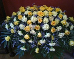 Peaceful Yellow and White Casket Spray in Benbrook, TX | BENBROOK FLORAL LLC.