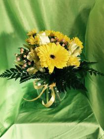 Yellow Daze Round Vase arrangement