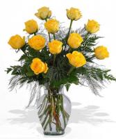 Yellow Dozen Rose Arrangement Roses
