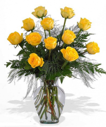 Yellow Dozen Rose Arrangement Roses