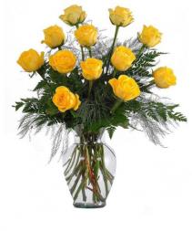 Yellow Dozen Roses Arranged Roses