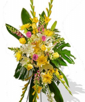 YELLOW EXOTIC STANDING SPRAY FUNERAL PC GOOD FOR FUNERAL AND MEMORIAL SERVICES