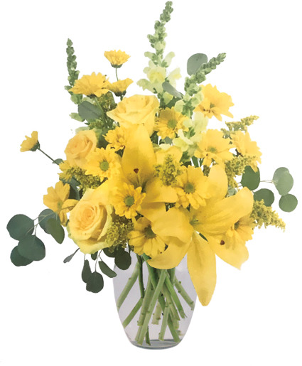 Yellow Frenzy Vase Arrangement