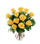 Yellow Forever Rose Vase