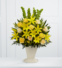 Yellow funeral basket