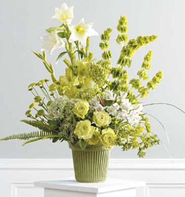 Yellow Garden flower design Sympathy flower arrangement