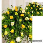 Yellow, Green & White Casket Flowers