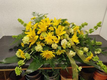 Yellow Lily  Casket Spray