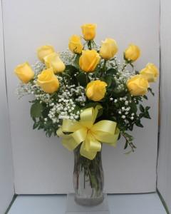 Yellow Long Stem Roses Rose Arrangement