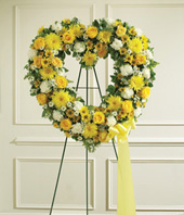 Yellow Open Heart Tribute Standing Spray