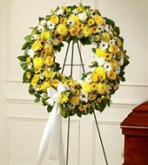 yellow open wreath  funeral