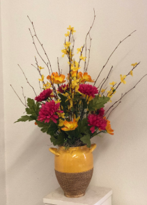Yellow orange and hot pink   Silk arrangement