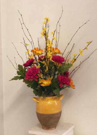 Yellow orange and hot pink   Silk arrangement