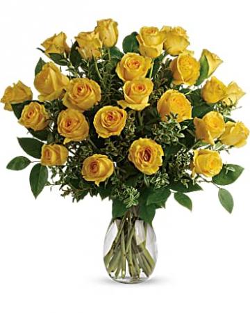 24 Yellow Please Roses  Rose Arrangement