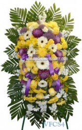 Yellow Purple and White Standing Spray Standing Sprays